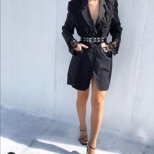 Lace Black Blazer Dress